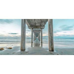 Image of Distant Pier Multicolour Canvas Art (W)1200mm (H)600mm