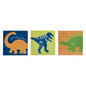 Image of Dino Doodles Multicolour Canvas (W)200mm (H)200mm Set of 3