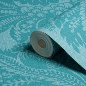 View Grand Damask Turquoise Vinyl Wallpaper details