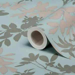 View Divine Motif Floral Blue Shimmer Effect Wallpaper details