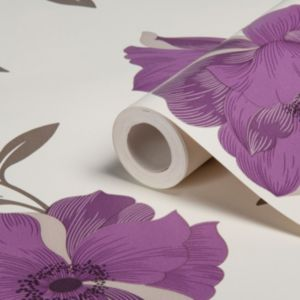 View Charleston Floral Purple Wallpaper details