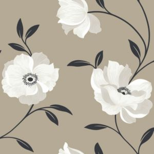 View Charleston Floral Brown & Cream Wallpaper details