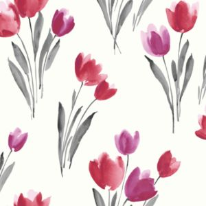 View Arthouse Opera Tulip Grey, Red & White Wallpaper details