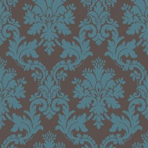 View Byron Damask Brown & Teal Wallpaper details