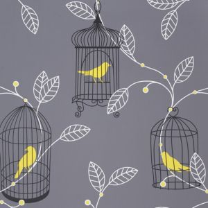 View Arthouse Opera Aviary Grey & Yellow Wallpaper details