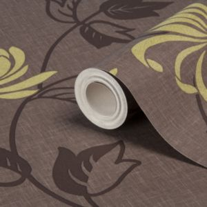 View Riva Chocolate & Lime Floral Wallpaper details
