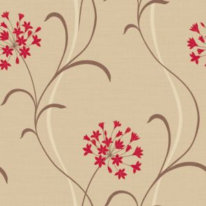 View Mia Floral Beige, Brown & Red Wallpaper details