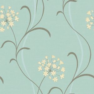 View Mia Floral Blue Soft Sheen Highlights Wallpaper details