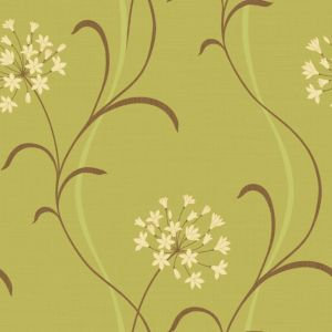 View Mia Floral Green Soft Sheen Highlights Wallpaper details