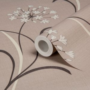 View Mia Floral Beige, Brown & Cream Soft Sheen Highlights Wallpaper details