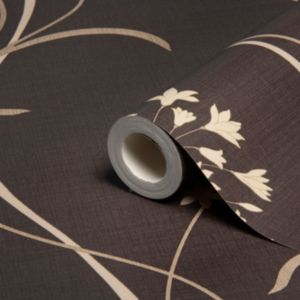 View Mia Floral Dark Chocolate Soft Sheen Highlights Wallpaper details