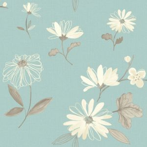 View Charnwood Floral Duck Egg Wallpaper details