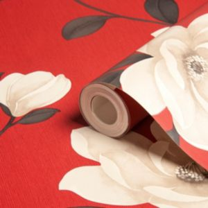 View Magnolia Flower Floral Cream & Red Wallpaper details
