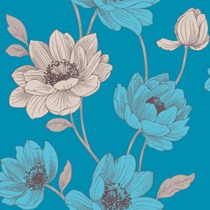 View Bohemia Teal Floral Wallpaper details