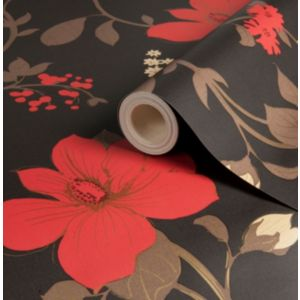 View Tatami Black & Red Floral Mica Wallpaper details