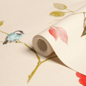View Songbird Leaf Cream, Green & Red Wallpaper details