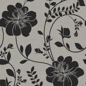 View Twilight Floral Black Metallic Effect Wallpaper details