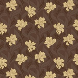 View Arthouse Vintage Vogue Motif Chocolate Brown & Yellow Wallpaper details