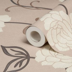 View Lauren Floral Brown & Cream Wallpaper details