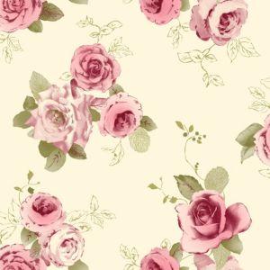Nicky cream green rose wallpaper departments diy at b q for Cream rose wallpaper