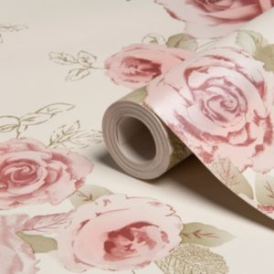View Nicky Floral Cream, Green & Rose Wallpaper details