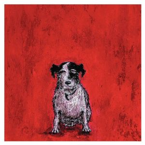 Image of Small dog Red Canvas art (W)400mm (H)400mm
