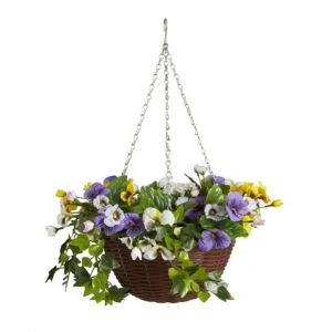 Image of Smart Garden artificial pansy Hanging basket 300 mm