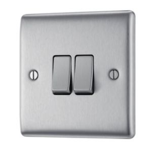 Nexus 10A 2-Way Stainless Steel Double Switch