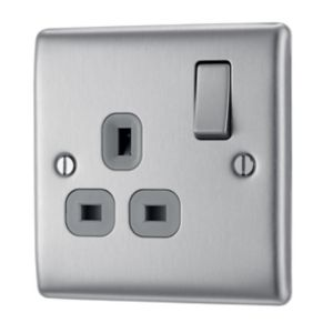 View Nexus 13A 2-Gang Nickel Effect Switched Socket details