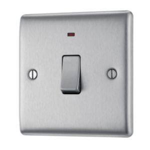 Image of British General 20A Single Brushed steel Switch with neon