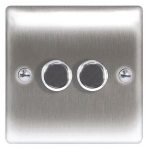 View Nexus Steel Effect 2-Gang Push On/Off with Rotary Dimming 400W Dimmer Switch details