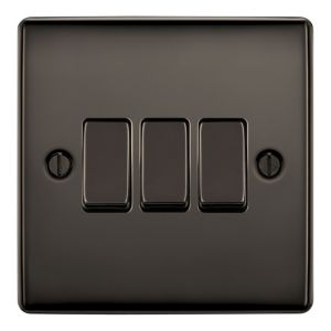 View Nexus 3-Gang 2-Way 10A Black Nickel Effect Triple Light Switch details