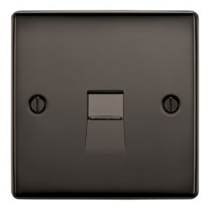 View British General 1 Gangraised Rounded Black Nickel Telephone Socket details