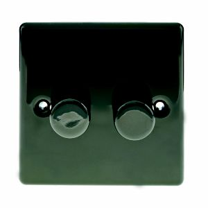 Image of British General 2-Way Double Black Nickel Effect Dimmer Switch