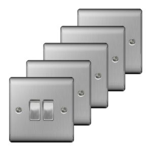 Nexus 10A 2-Way Steel Effect Light Switch  Pack of 5