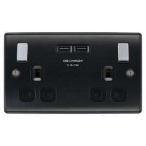 Nexus 13A Black Matt Switched Socket & 2 x USB
