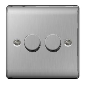 Nexus 2-Way Silver Brushed Steel Dimmer Switch