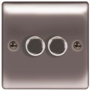 Image of British General 2-Way Double Black Nickel Dimmer Switch