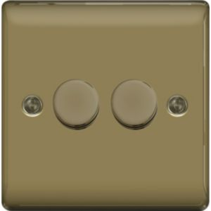 Image of British General 2-Way Double Pearl Nickel Dimmer Switch