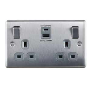 Image of BG 13A Brushed Switched Double Socket with USB Charger & 2x USB Outputs (A+C)