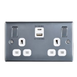 Image of BG 13A Polished Switched Double socket with USB Charger & 2x USB Outputs (A+C)