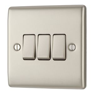 View Nexus 3-Gang 2-Way 10A Pearl Nickel Triple Light Switch details