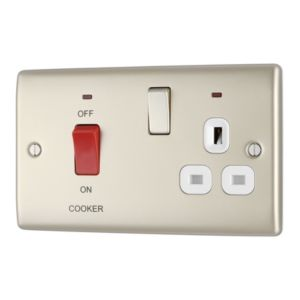 Image of British General 45A Double polePearl & Nickel effect Cooker switch & socket with 13A socket & Colour coded terminals