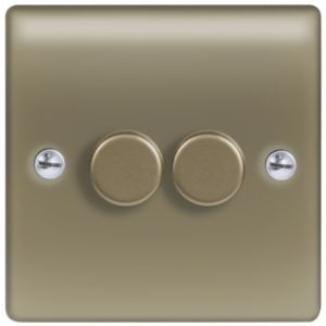 View Nexus Pearl Nickel Gold 2-Gang Push On/Off with Rotary Dimming 400W Dimmer Switch details