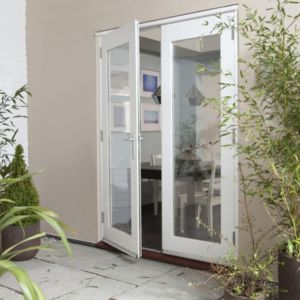 View Clear Glazed Pre-Finished External French Door Set, (H)2105mm (W)1805mm details