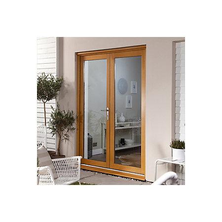 Clear glazed oak veneer external french door set h for French doors 1800 x 2100