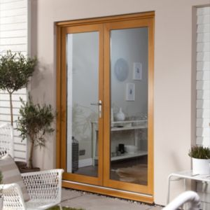 View Clear Glazed Oak Veneer External French Door Set, (H)2105mm (W)1805mm details