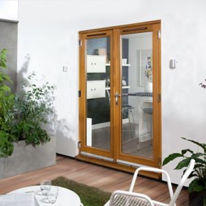 View Clear Glazed Solid Laminated Oak External French Door Set, (H)2105mm (W)1205mm details