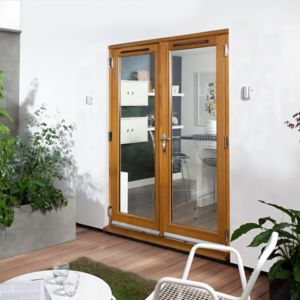 View Clear Glazed Solid Laminated Oak External French Door Set, (H)2105mm (W)1505mm details