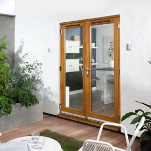 View Clear Glazed Solid Laminated Oak External French Door Set, (H)2105mm (W)1805mm details